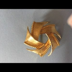2 pc gold brooches one is Trifari